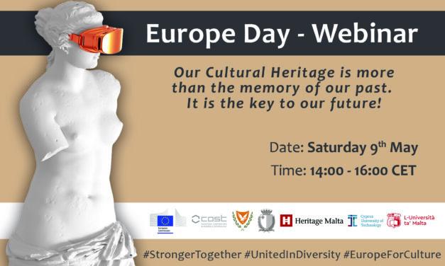"""ΔΙΚΤΥΟ """"ΠΕΡΡΑΙΒΙΑ"""":Δωρεάν διακρατικό διαδικτυακό Σεμινάριο για την Πολιτιστική Κληρονομιά στα πλαίσια της Μέρας της Ευρώπης, το Σάββατο 9 Μαΐου 2020  με τίτλο :  « Η Πολιτιστική Κληρονομιά είναι περισσότερο από τη μνήμη του παρελθόντος. Είναι το κλειδί προς το Μέλλον μας»"""